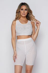 White Mesh Short Set
