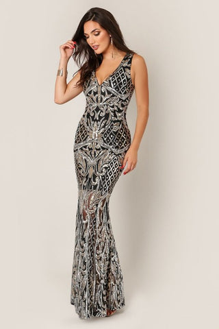Black Sleeveless Sequin Mermaid Gown