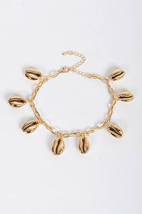 Gold Adjustable Beaded Seashell Bracelet