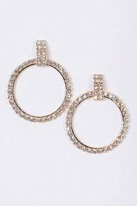 Gold Round Rhinestone Drop Earrings