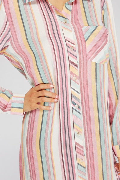 Striped Button Midi Dress