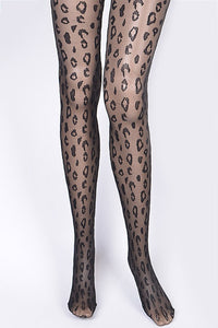 Black Leopard Print Fashion Stocking