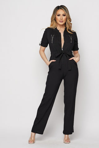 Black Zipper Front Jumpsuit