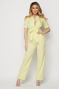 Yellow Zipper Front Jumpsuit