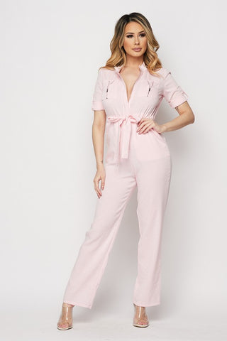 Pink Zipper Front Jumpsuit