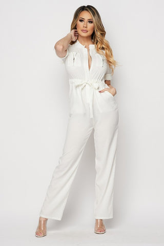 White Zipper Front Jumpsuit