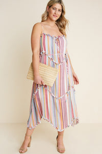 Plus Size Striped Print Midi Dress
