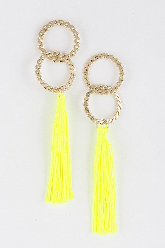 Neon Yellow Fringe Tassel Earrings