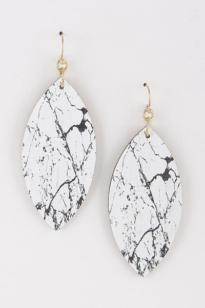 White and Gold Teardrop Earrings