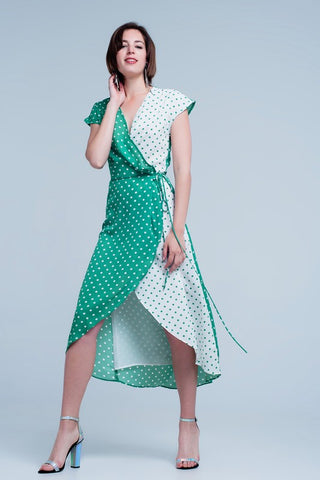 Green Polka Dot Wrap Dress