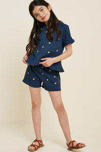 Girls Navy Embroidered Short Set