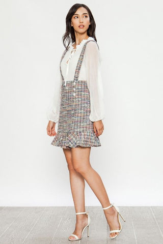 Tweed Overall Style Mini Skirt