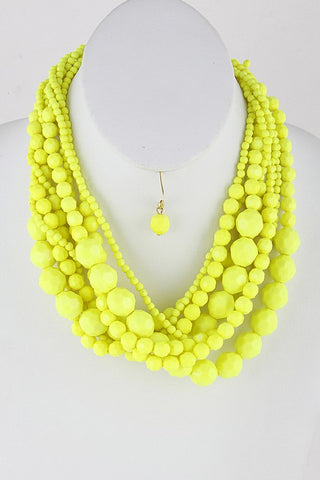Neon Yellow Multi Sized Bead Necklace