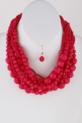 Neon Pink Multi Sized Bead Necklace