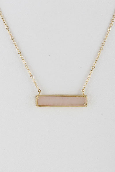Light Pink Rectangle Opulent Stone Necklace