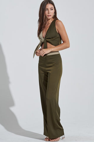 Olive and Taupe Color Blocked Pant Set