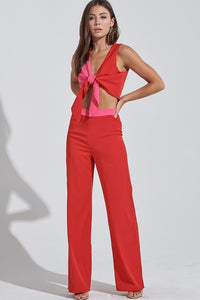 Red and Pink Color Blocked Pant Set