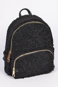 Black Curly Faux Fur Backpack