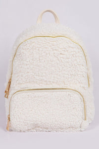 Ivory Curly Faux Fur Backpack