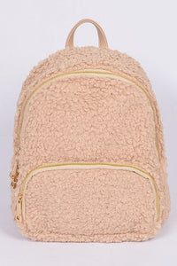 Beige Curly Faux Fur Backpack