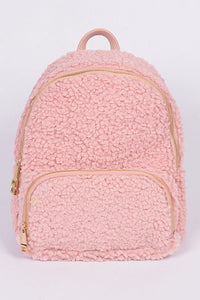 Dark Pink Curly Faux Fur Backpack