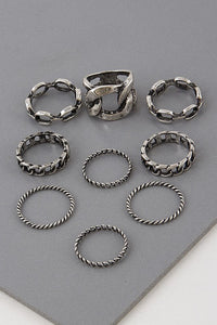 Nine Piece Fashion Ring Set