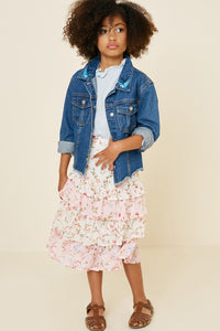 Girls Tiered Ruffle Floral Midi Skirt