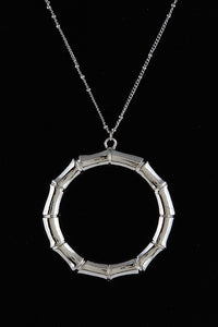 Bamboo Style Silver Circle Necklace