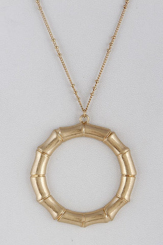 Bamboo Style Gold Circle Necklace