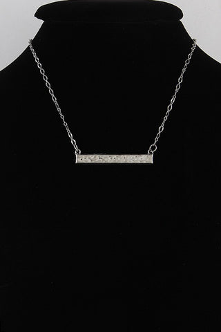 Silver Textured Style Fashion Necklace