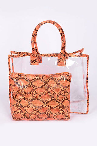 Neon Orange Snakeskin Clear Bag Set