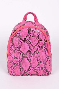 Neon Pink Faux Reptile Skin Backpack