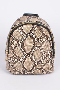 Beige Faux Reptile Skin Backpack