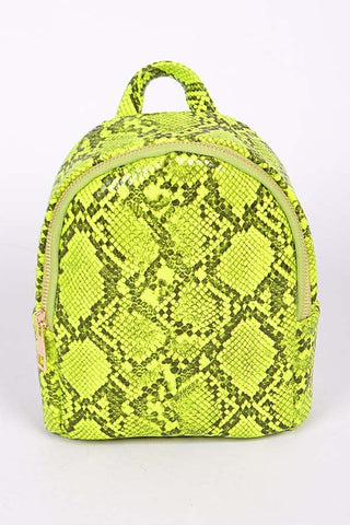 Neon Yellow Faux Reptile Skin Backpack