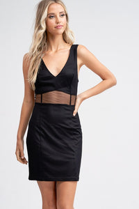 Black Sleeveless Mesh Insert Dress