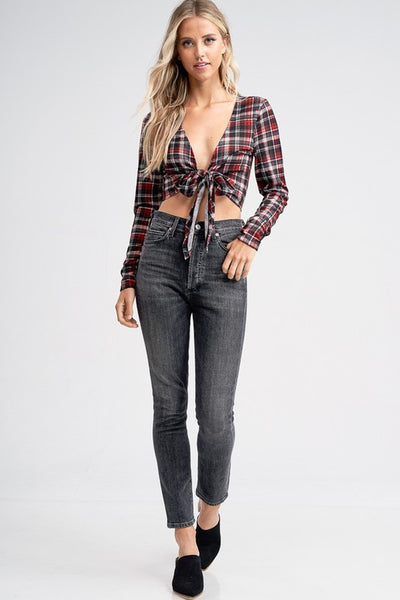 Plaid Tie Front Crop Top