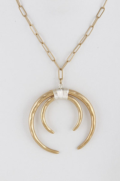 Gold Double Crescent Fashion Necklace