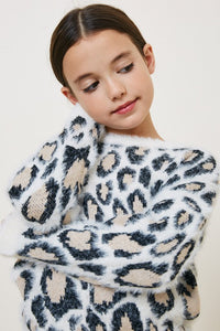 Girls White Leopard Mohair Sweater Top