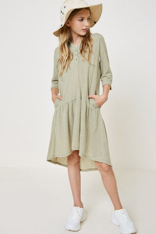 Girls Green Striped High-Low Shirt Dress