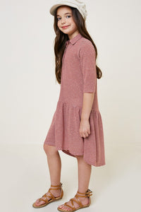 Girls Brick Striped High-Low Shirt Dress