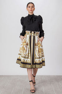 White and Black Baroque Print Skirt