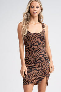 Brown Zebra Print Body-con Dress