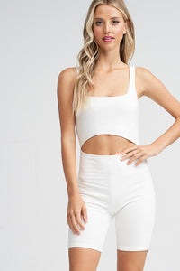 White Cutout Front Romper