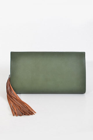 Olive Tassel Detail Clutch Purse