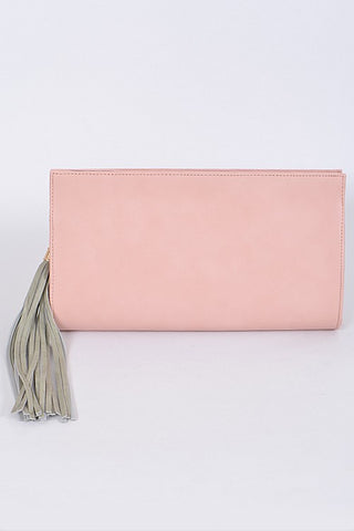 Pink Tassel Detail Clutch Purse