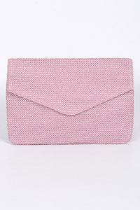 Pink Beaded Envelope Clutch Purse