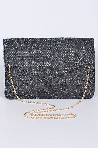 Black Beaded Envelope Clutch Purse