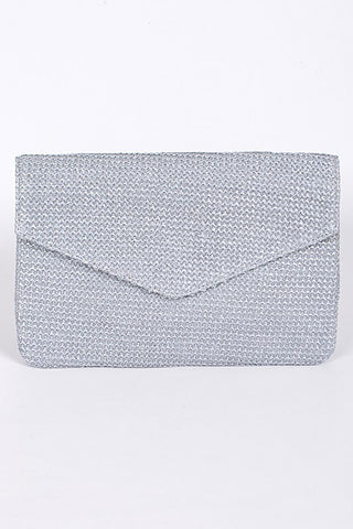 Grey Beaded Envelope Clutch Purse