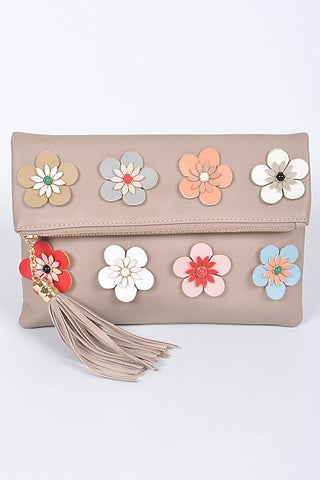 Khaki 3D Flower Clutch Purse