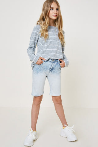 Girls Ombre Acid Wash Bermuda Shorts